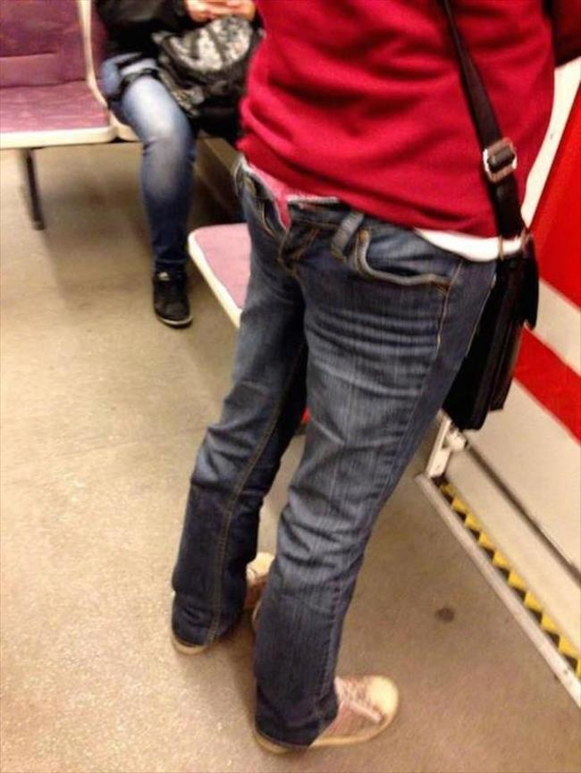 jeans a l'envers homme transport