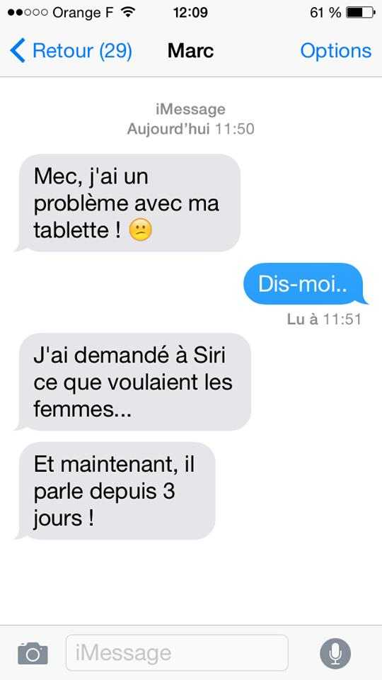 sms ami tablette siri question femme