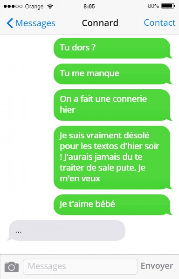sms connard rupture