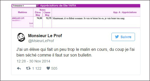 tweet buletin professeur