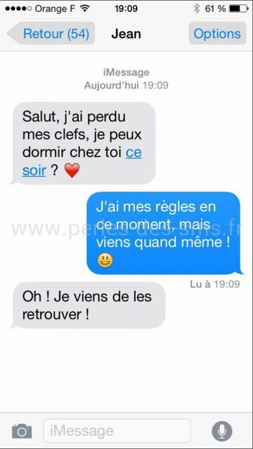sms amour clef perdu